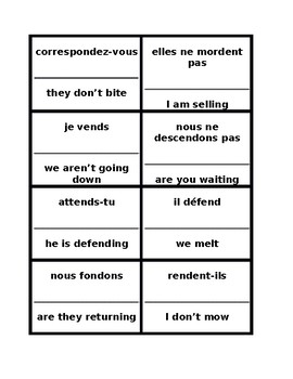RE verbs in French present tense Cercle magique 2