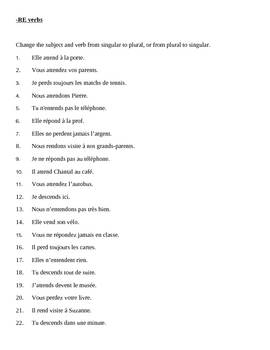 RE verbs in French present tense worksheet 1