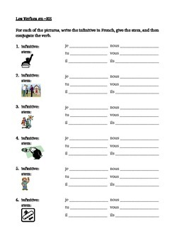 RE verbs in French present tense worksheet 7