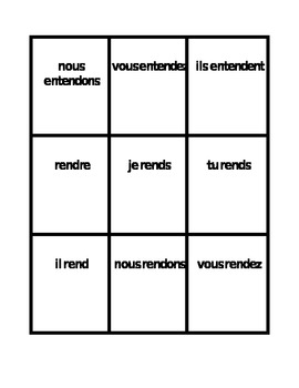 RE verbs French present tense Spoons game / Uno game