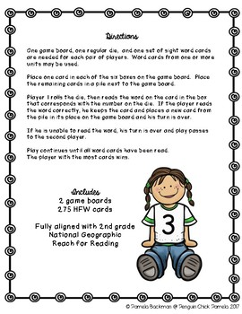 2nd Grade ROLL SAY KEEP Reach for Reading High Frequency Word Game