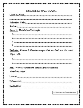 Comprehension Strategy for Fiction and Informational Text - R.E.A.C.H.