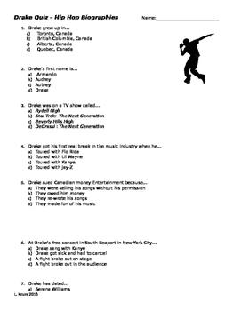 READ 180 - Hip-Hop Biography - Drake Quiz