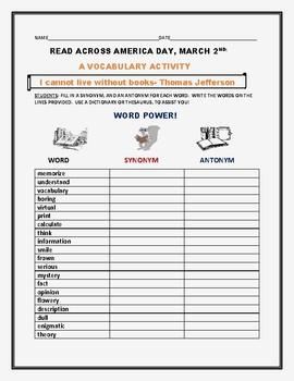READ ACROSS AMERICA DAY: A VOCABULARY ACTIVITY