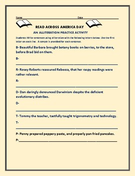 READ ACROSS AMERICA DAY: AN ALLITERATION ACTIVITY