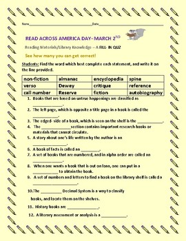READ ACROSS AMERICA DAY/ MARCH 2ND - LIBRARY QUIZ/ HAVE FUN!