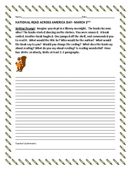 READ ACROSS AMERICA DAY, MARCH 2ND- WRITING PROMPT