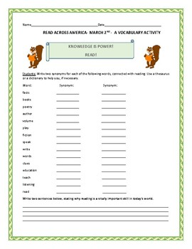 READ ACROSS AMERICA: MARCH 2ND- A VOCABULARY ACTIVITY