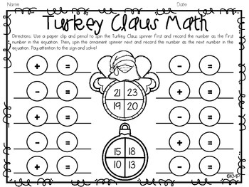 READ ALOUD ELA & Math Activities {Turkey Claus & Merry Christmas, Splat}