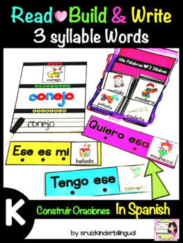 READ,BUILD & WRITE 3 Syllable Words In Spanish