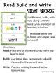 READ BUILD WRITE SIGHT WORDS (pre-primer and primer)