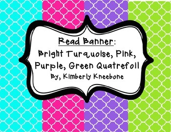 READ Banner Pennant - Bright Turquoise, Pink, Purple, Gree