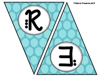 READ Banner Pennant - Large Blue Polka Dot