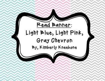 READ Banner Pennant - Light Blue, Light Pink, and Gray Chevron