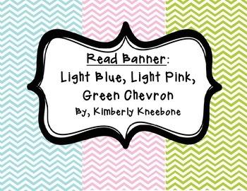 READ Banner Pennant - Light Blue, Light Pink, and Green Chevron