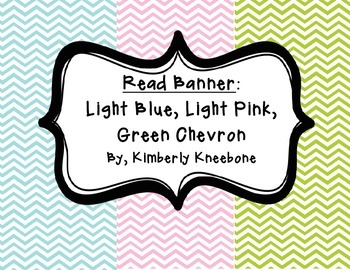 READ Banner Pennant - Light Blue, Light Pink, and Green Chevron