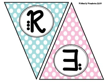 READ Banner Pennant - Light Blue, Light Pink, and Green Polka Dot