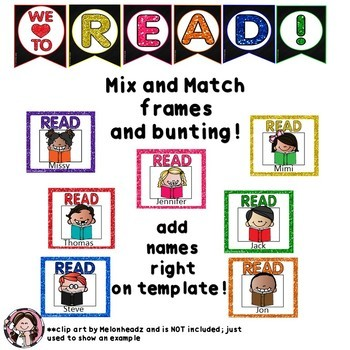 READ!  Bulletin Board to Promote Reading! EDITABLE TEMPLATES SET 5 Glitter Ed