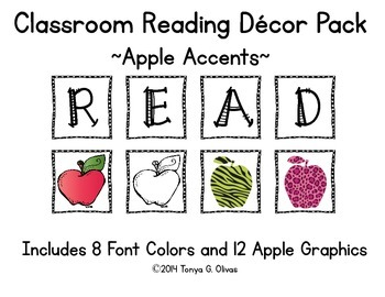 READ Classroom Decor with Apple Accent Pics
