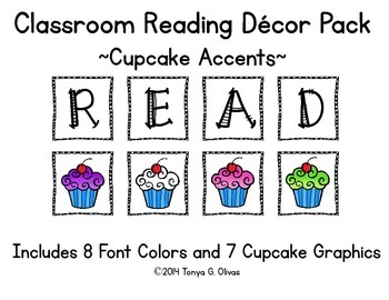 READ Classroom Decor with Cupcake Accent Pics