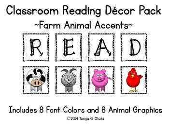 READ Classroom Decor with Farm Animal Accent Pics