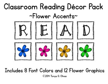 READ Classroom Decor with Flower Accent Pics
