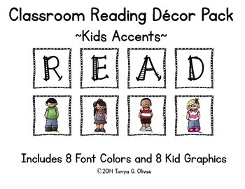 READ Classroom Decor with Kids Accent Pics