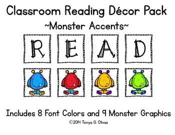 READ Classroom Decor with Monster Accent Pics