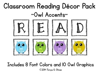 READ Classroom Decor with Owl Accent Pics
