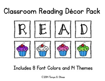 READ Classroom Decor with Themed Accent Pics--COMPLETE SET