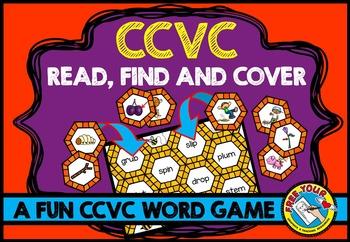 CCVC ACTIVITIES: BEE THEMED CCVC WORDS GAME:  PHONICS READING CENTER