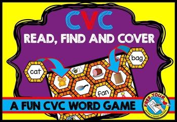 CVC WORDS GAME: CVC READING CENTER: PHONICS WORD WORK: BEE THEME CVC GAMES