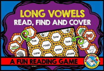 LONG VOWELS PHONICS REVIEW (BEE THEME LONG VOWEL WORD GAME) READING CENTER