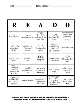 READ-O Card (Reading Log) 3rd-Middle School