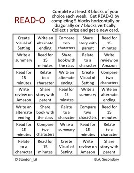 READ-O Reading Comprehension BINGO for Homework or Extra Credit (Student Choice)