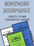 READ & RESPOND HOMEWORK BOOKMARKS