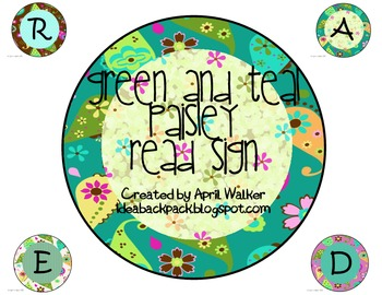 READ Sign - Green Paisley