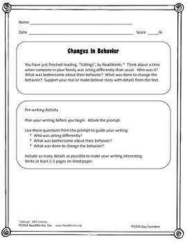 FREE READ!  WRITE!  CITE TEXT!  Siblings  GR 4
