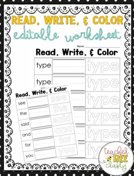 READ, WRITE, and COLOR EDITABLE WORKSHEET FREE