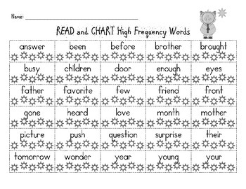 READ and CHART High Frequency Words - 1st Grade Reading Wonders Unit 6