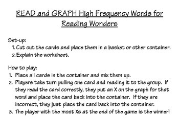 READ and GRAPH High Frequency Words – Reading Wonders Kindergarten Units 1-5