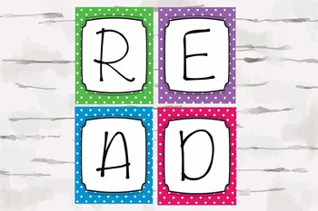 READ sign, Polka Dot Reading Classroom Decor, Colorful