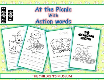 READER BOOK - AT THE PICNIC with ACTION WORDS