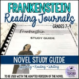 Novel Study Frankenstein Reading Journals (answer key included)