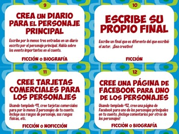 READER'S RESPONSE Grab Bag Cards - English & Spanish
