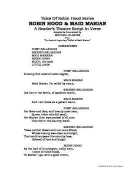 "READERS THEATER SCRIPT, In Verse:  ""Robin Hood & Maid Marian"""