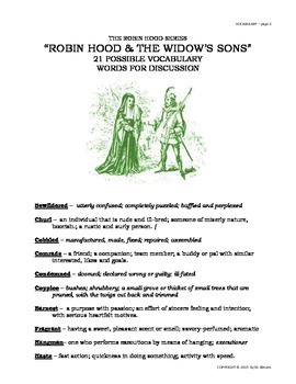 READERS THEATER SCRIPT: Tales of Robin Hood Series, The Widow's Sons
