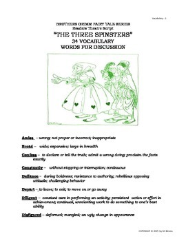 """READERS THEATER SCRIPT: """"The Three Spinsters"""", Grimm Fairy Tale Series"""