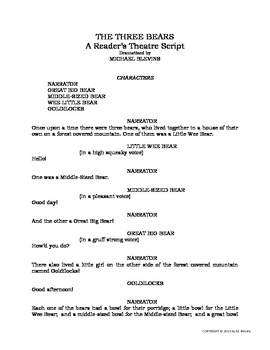 READERS THEATER SCRIPT: The Three Bears, an American Fairy Tale