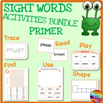 SIGHT WORDS Activities BUNDLE Level PRIMER Flash Cards Games & Activities